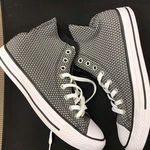 Converse black & white patterned high tops